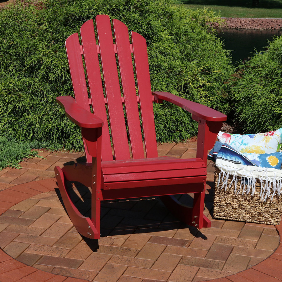 Outdoor Wooden Adirondack Rocking Chair, Red