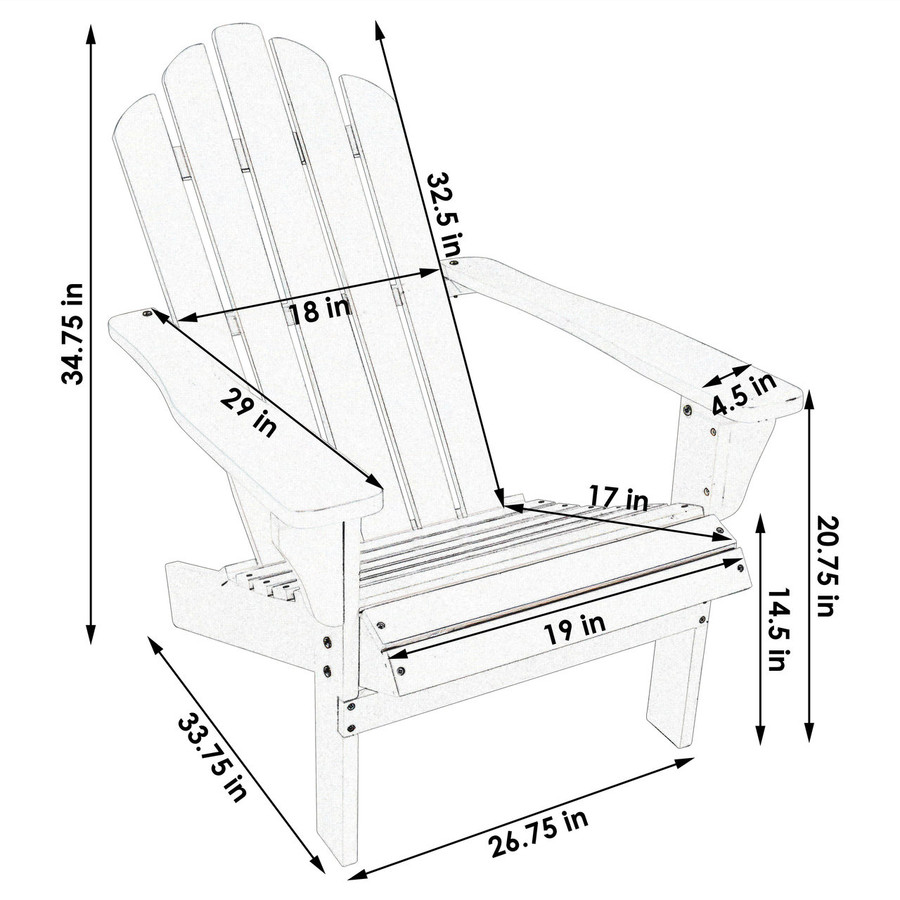Dimensions of Wood Outdoor Adirondack Chair