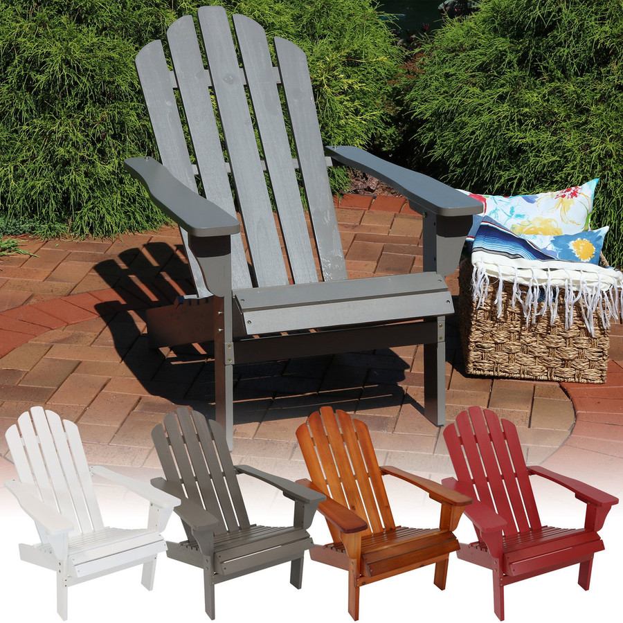 Wood Outdoor Adirondack Chair, Multiple Color Options