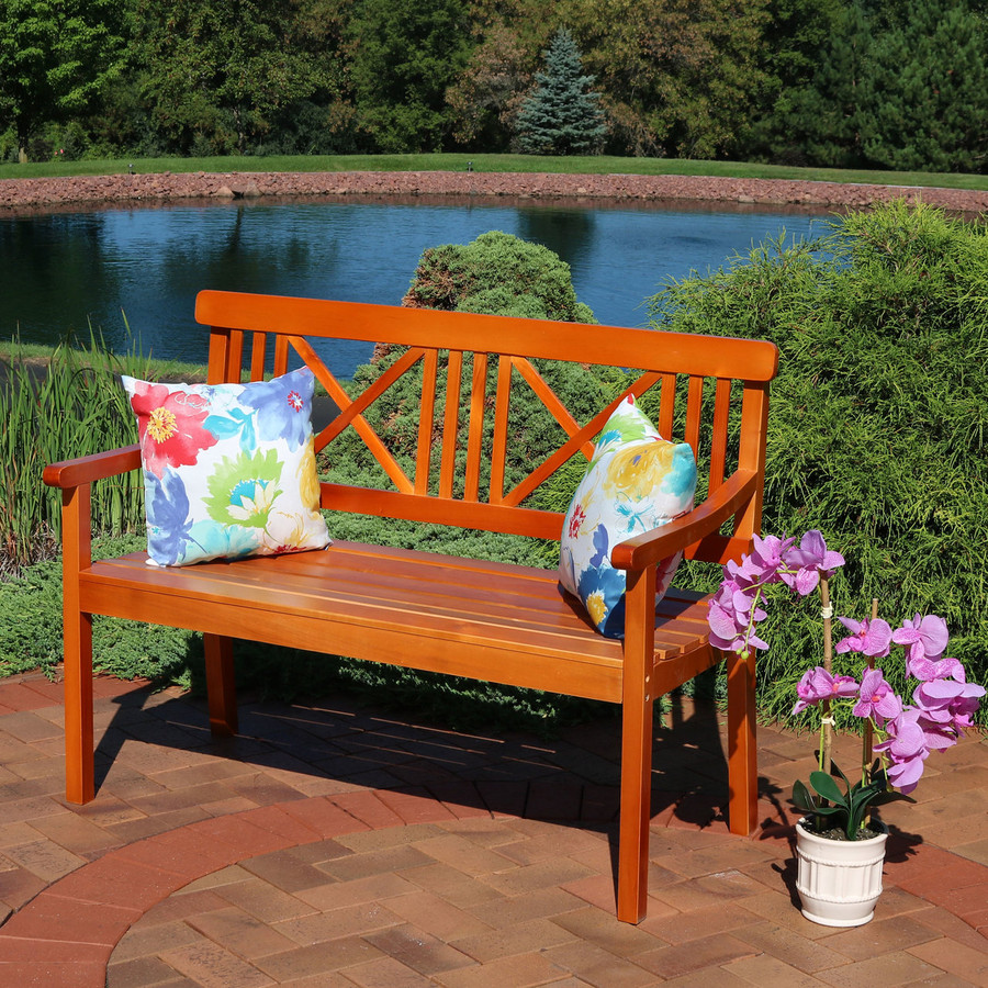 Sunnydaze 2-Person X-Back Outdoor Wood Patio Bench, 47-Inch, Multiple Color Options Available