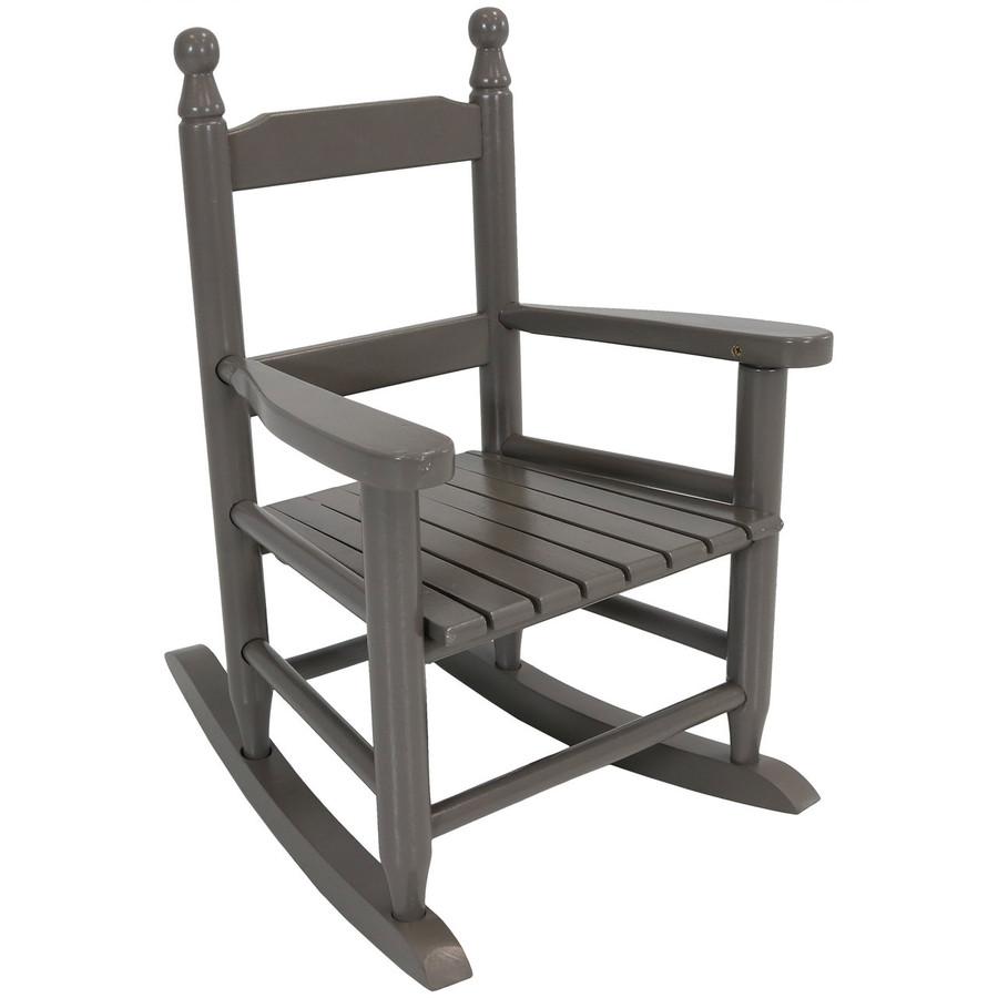 Child-Size Modern Wooden Rocking Chair, Gray