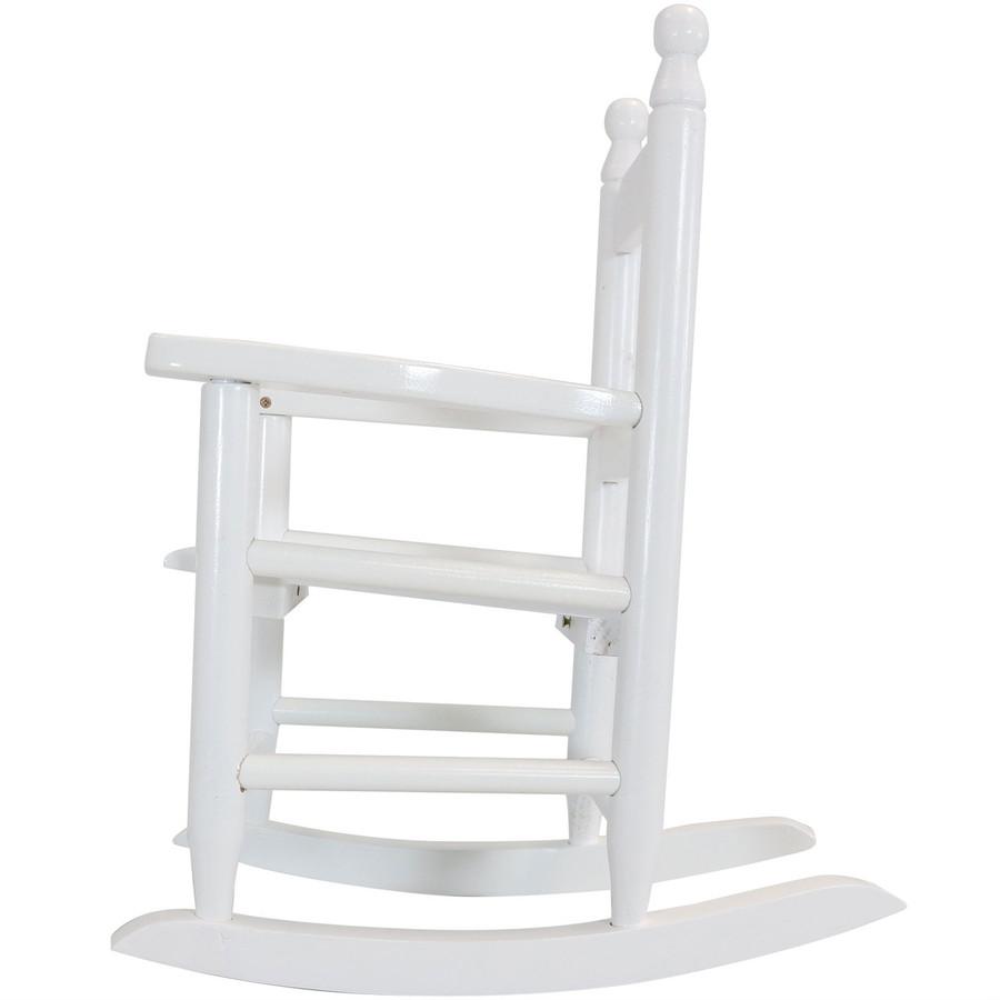 Child-Size Modern Wooden Rocking Chair, White; Side-View