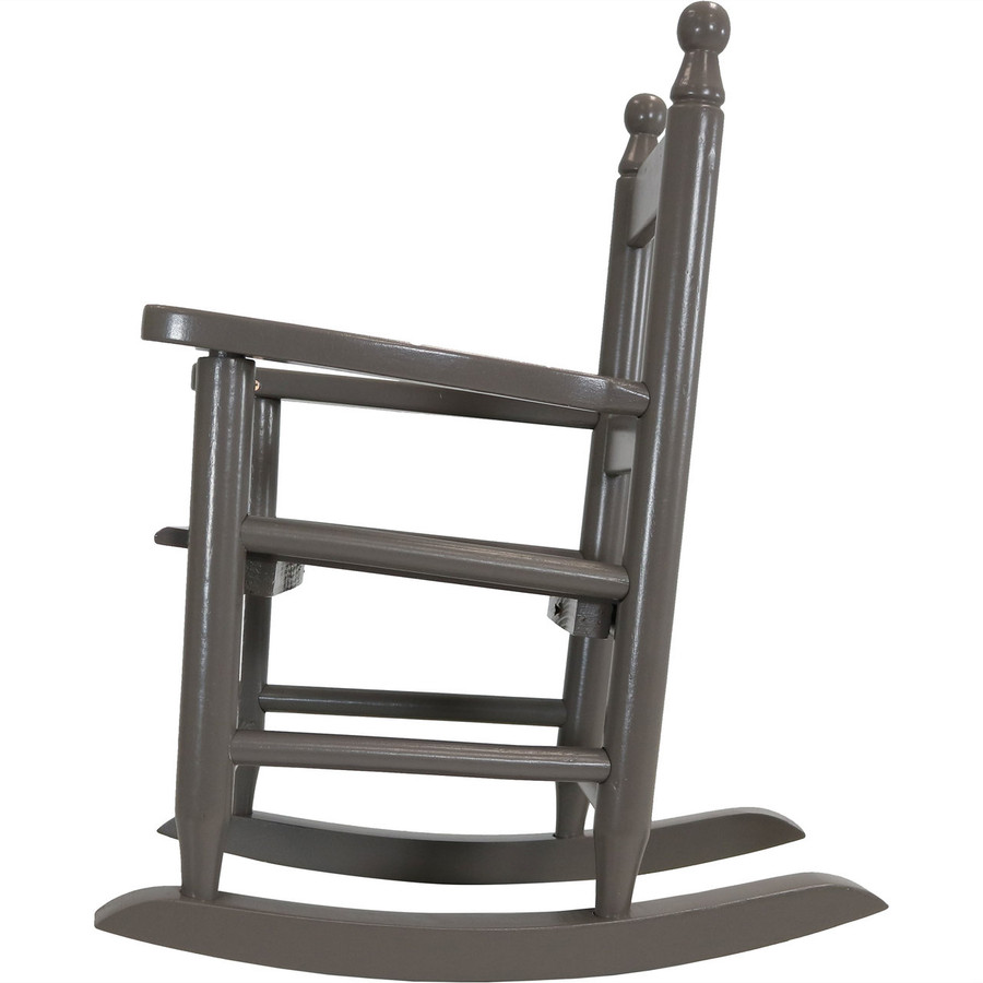 Child-Size Modern Wooden Rocking Chair, Gray; Side-View