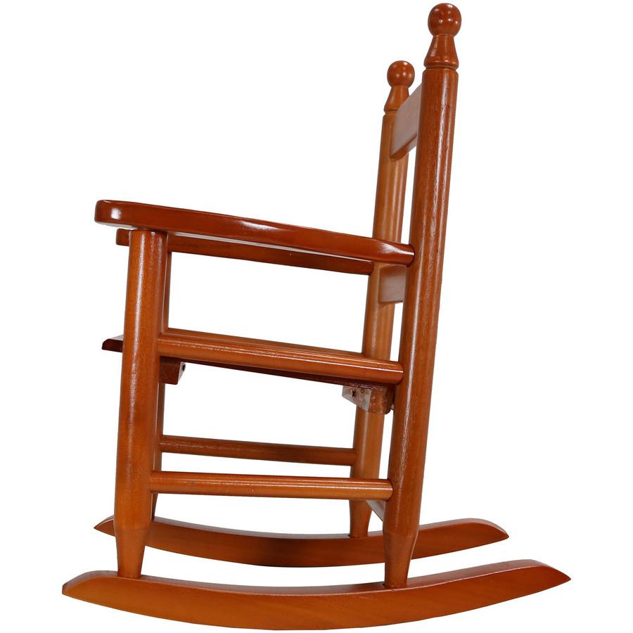 Child-Size Modern Wooden Rocking Chair, Brown; Side-View