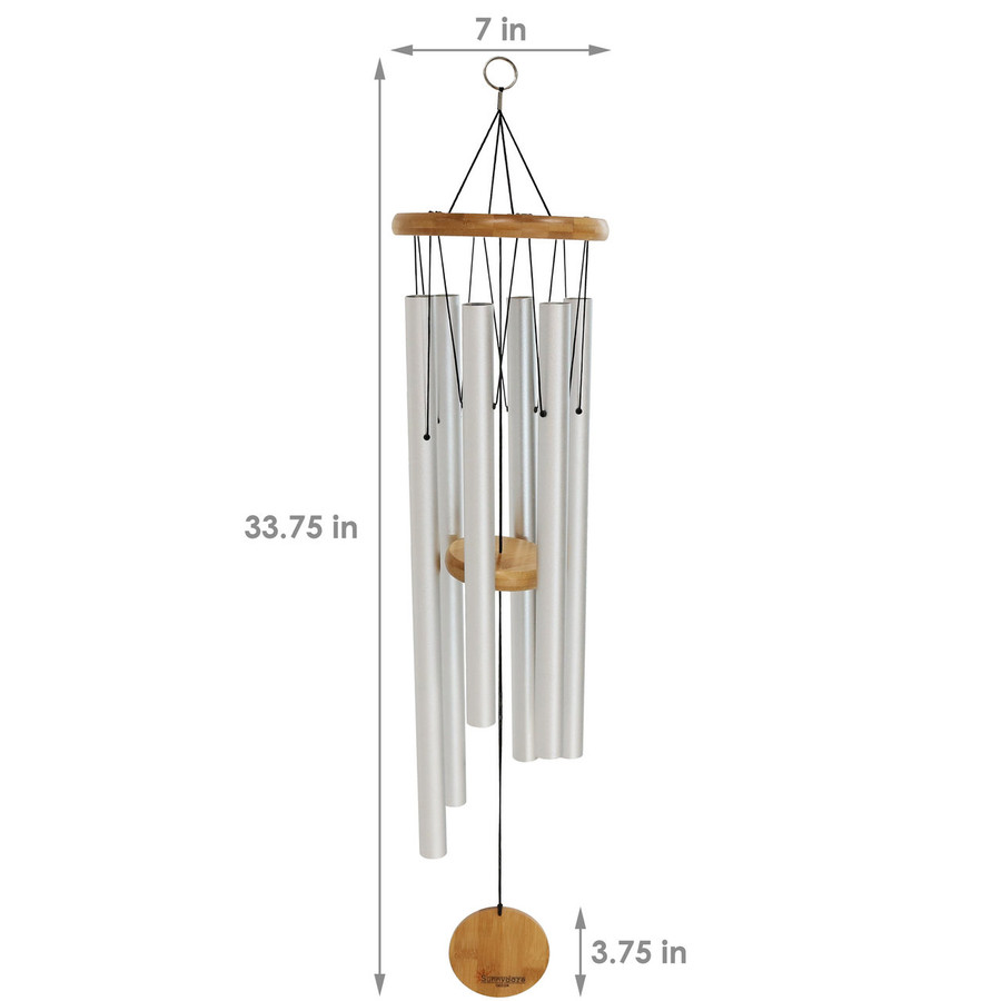 Dimensions of the 33-Inch Bamboo Aluminum Wind Chimes