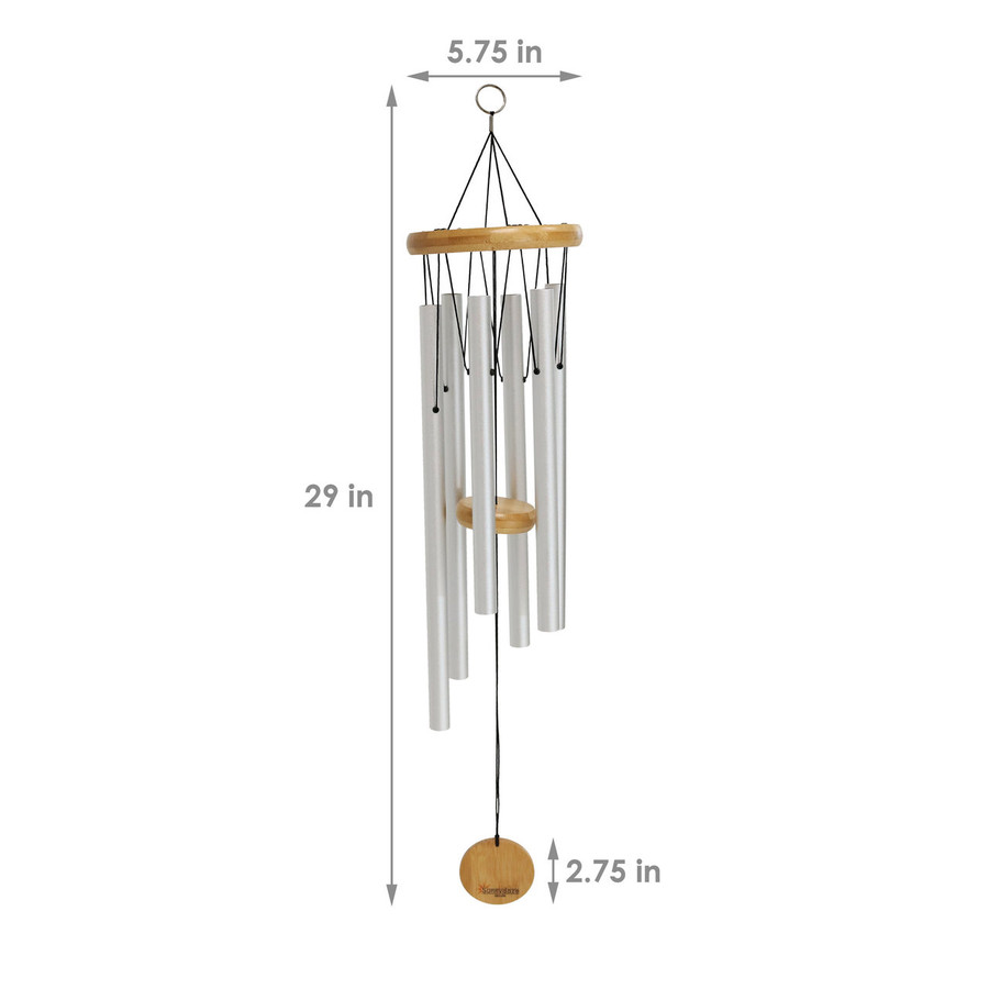 Dimensions of the 29-Inch Bamboo Aluminum Wind Chimes