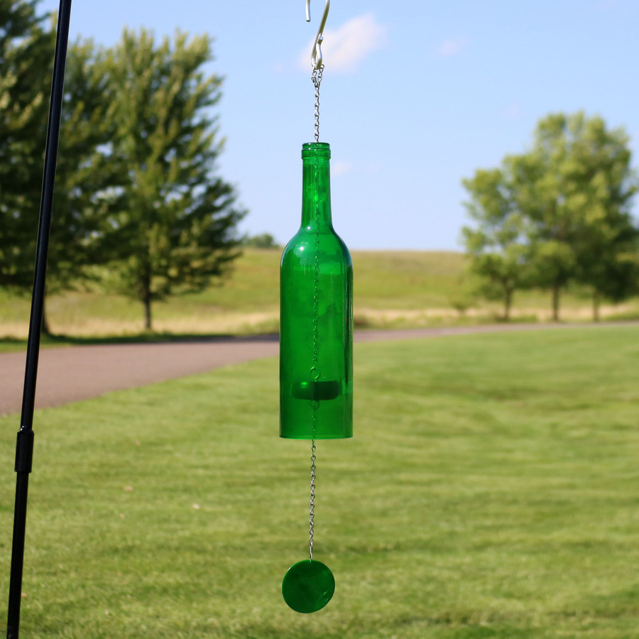Glass Wine Bottle Wind Chime, Green