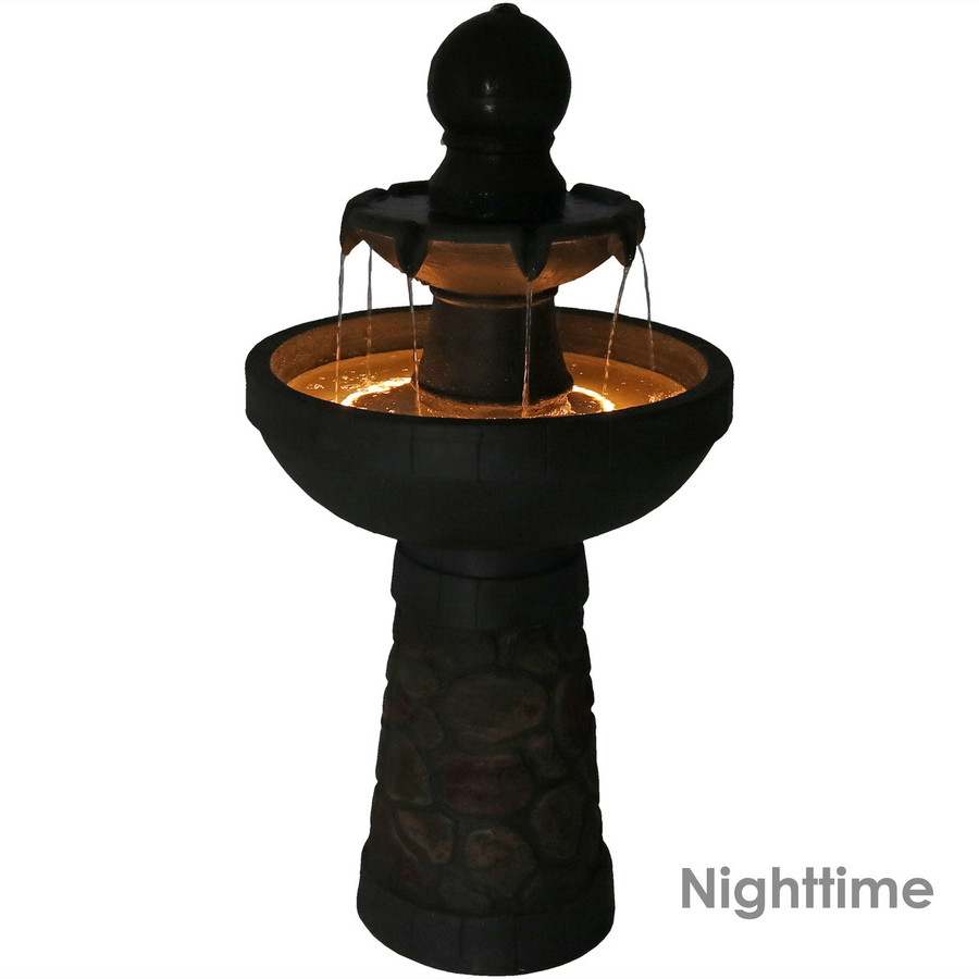 Nighttime View of 2-Tier Cobblestone-Look Outdoor Water Fountain with LED Rope Light