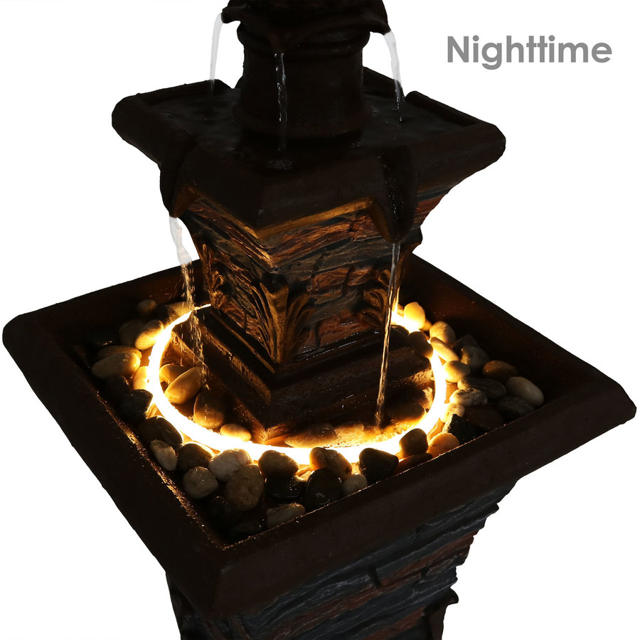 Nighttime View of Closeup of 2-Tier Stacked Stone Look Outdoor Water Fountain