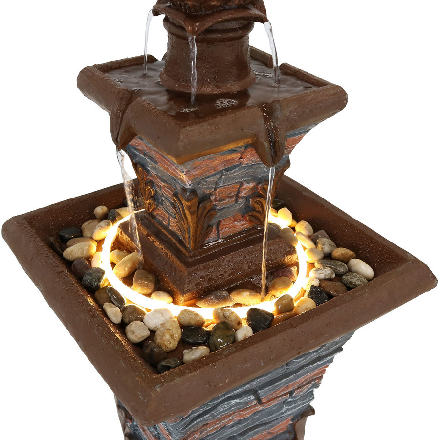 Closeup of 2-Tier Stacked Stone Look Outdoor Water Fountain