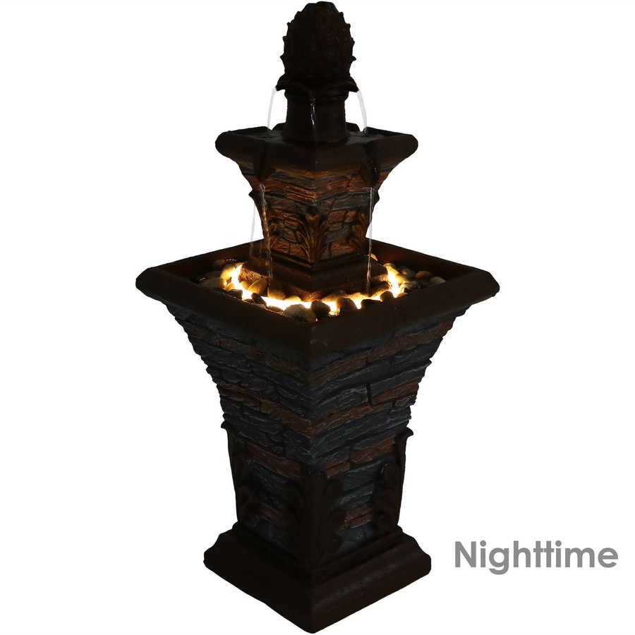 Nighttime View of 2-Tier Stacked Stone Look Outdoor Water Fountain with LED Rope Light