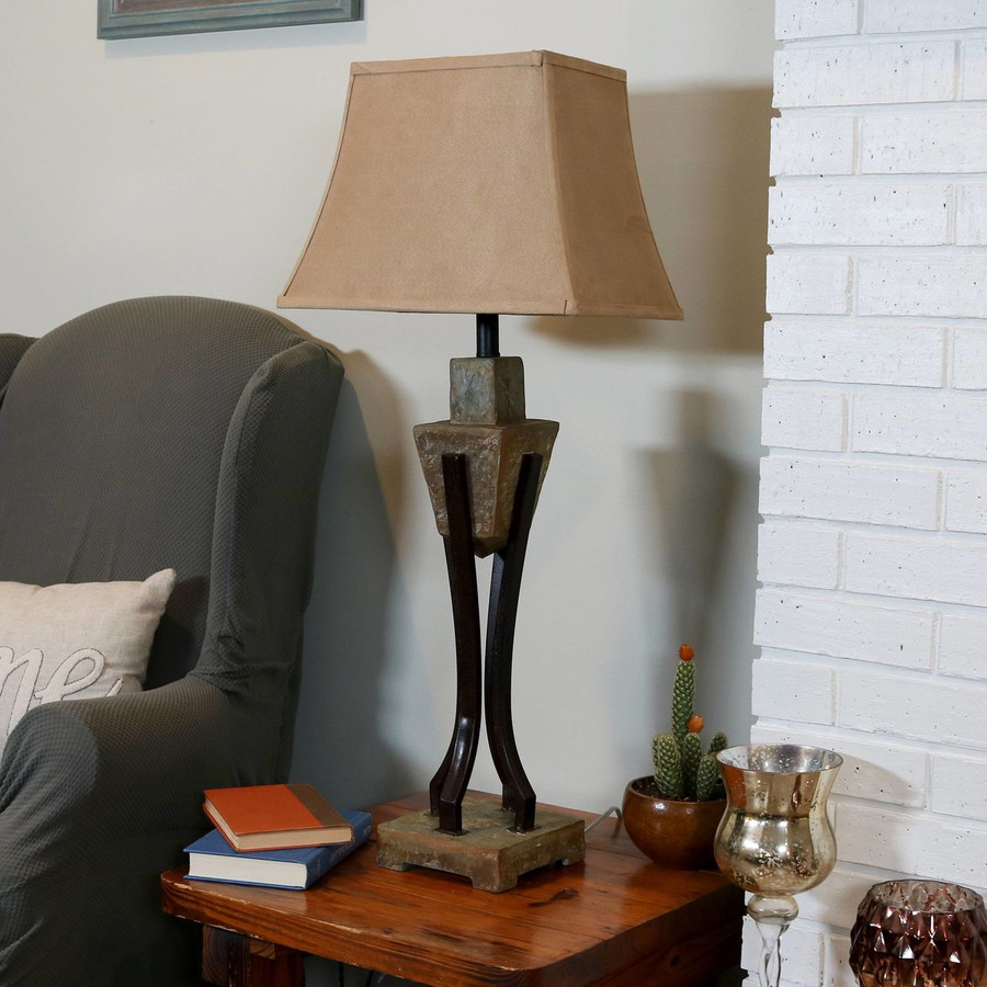 Modern Table Lamp with Caged Black Metal Base and Fabric Lampshade