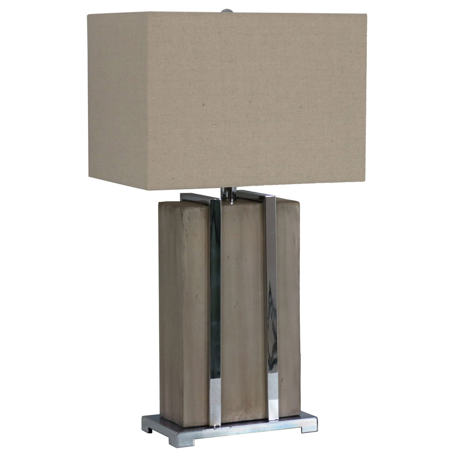 Indoor Table Lamp with Industrial-Inspired Concrete Base with Chrome Detailing