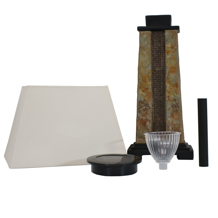 Sunnydaze Outdoor Solar Table Lamp with 2-Tone Slate Base and Fabric Shade, 27-Inch