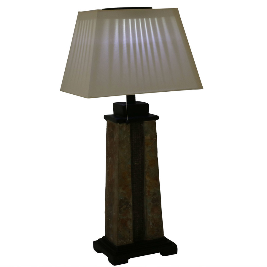 Lit Outdoor Solar Table Lamp with 2-Tone Slate Base and Fabric Shade