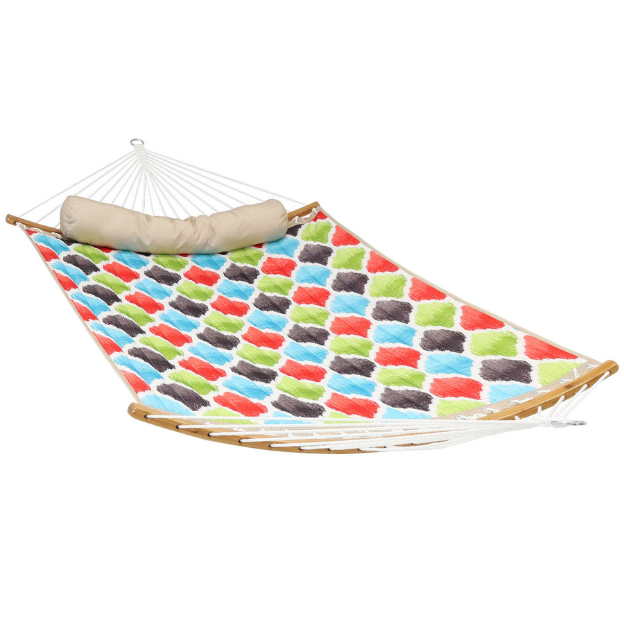 Quilted 2-Person Hammock with Curved Bamboo Spreader Bars, Vivid Multi-Color