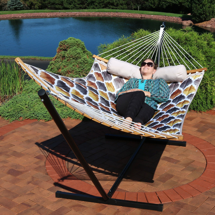 Quilted 2-Person Hammock with Curved Bamboo Spreader Bars, Gold and Bronze