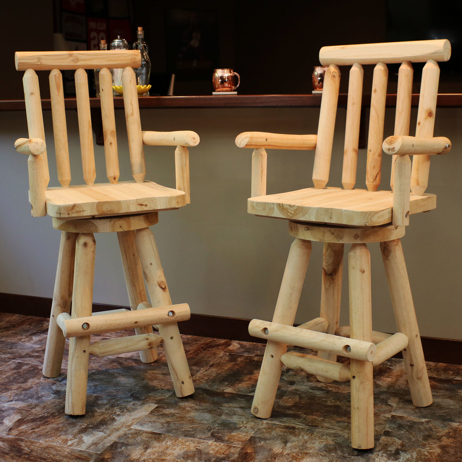 Set of 2 Rustic Bar Stools, Indoors