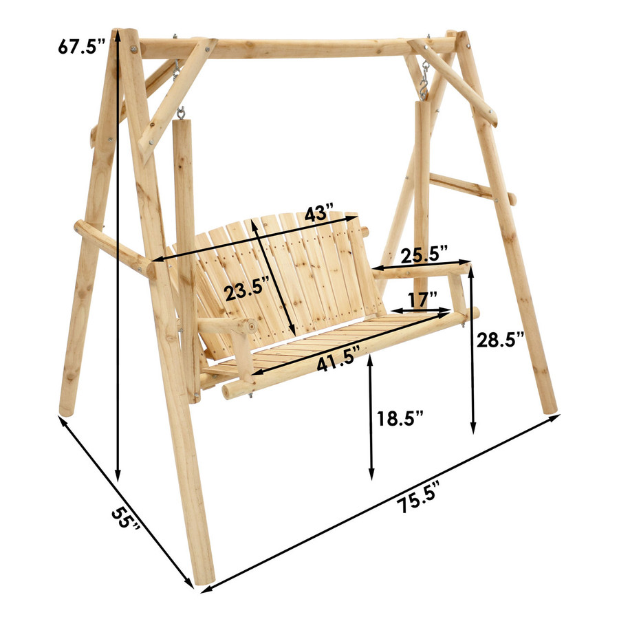 Dimensions of 3-Seater Rustic Log Wood Patio Outdoor Swing and Stand