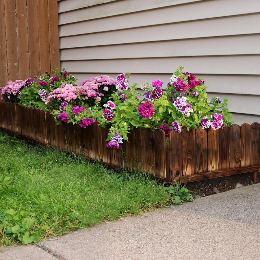 Rustic Wood Outdoor Garden Border Fence Panel