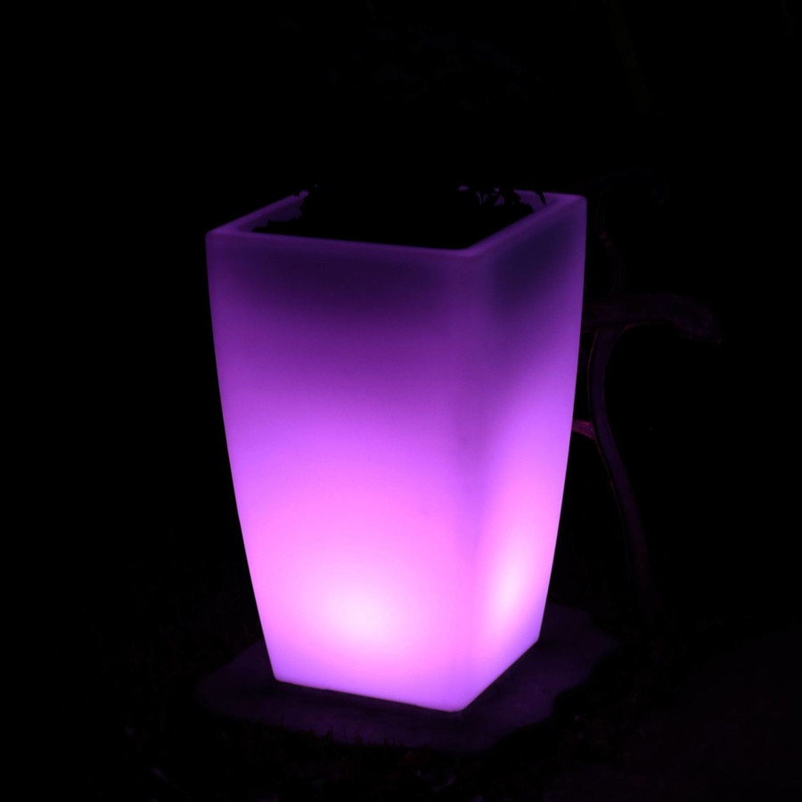 Square Flower Pot at Night, Purple
