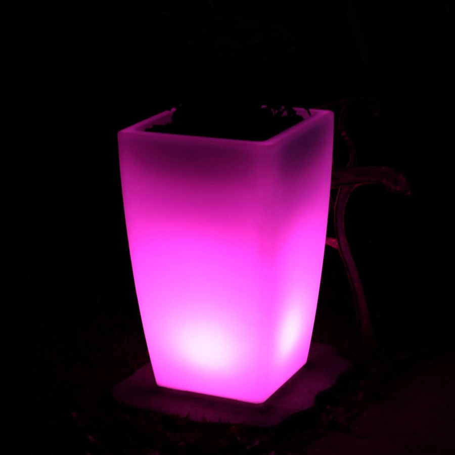 Square Flower Pot at Night, Pink
