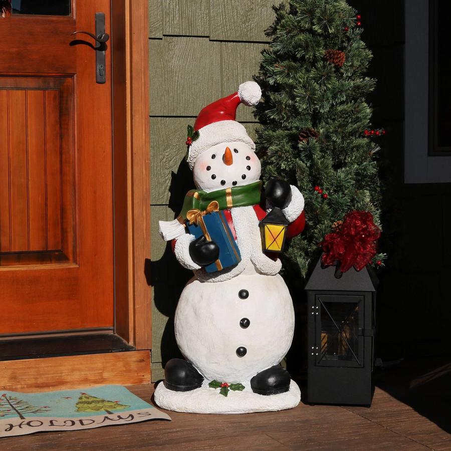 Holly Jolly Snowman Indoor/Outdoor Statue