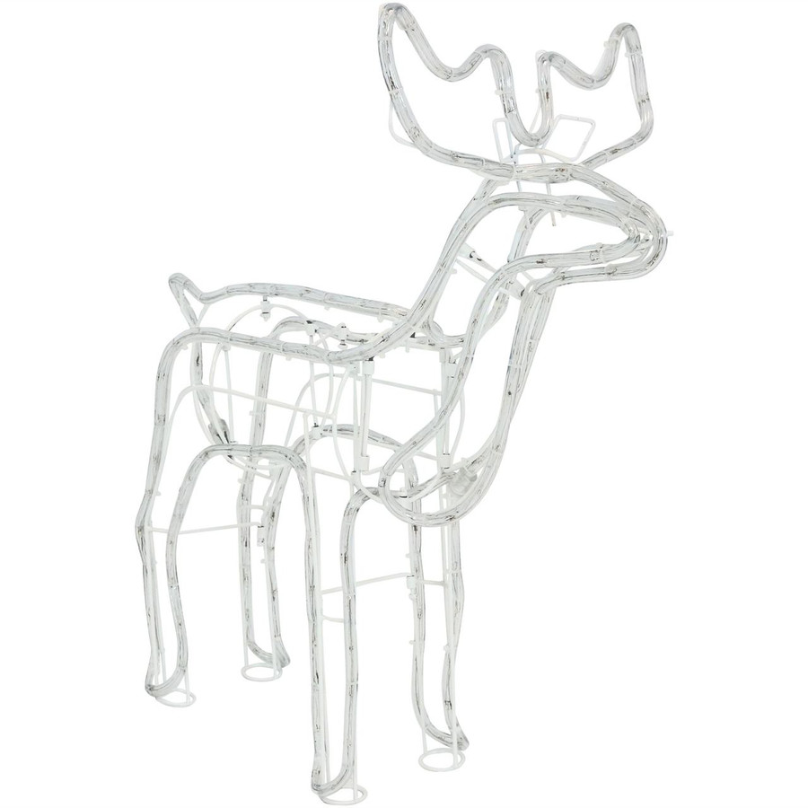Christmas Holiday Standing Deer White LED Light Display, Lights Off