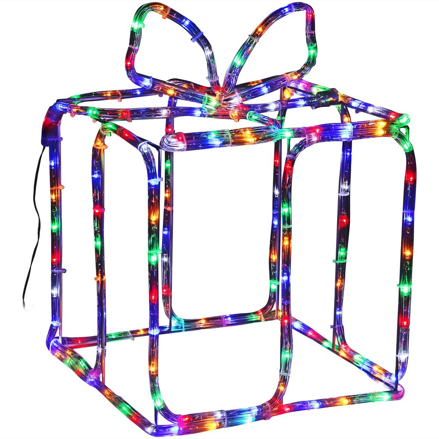 Multi-Color LED 3D Christmas Holiday Gift Box Silhouette, Lights On