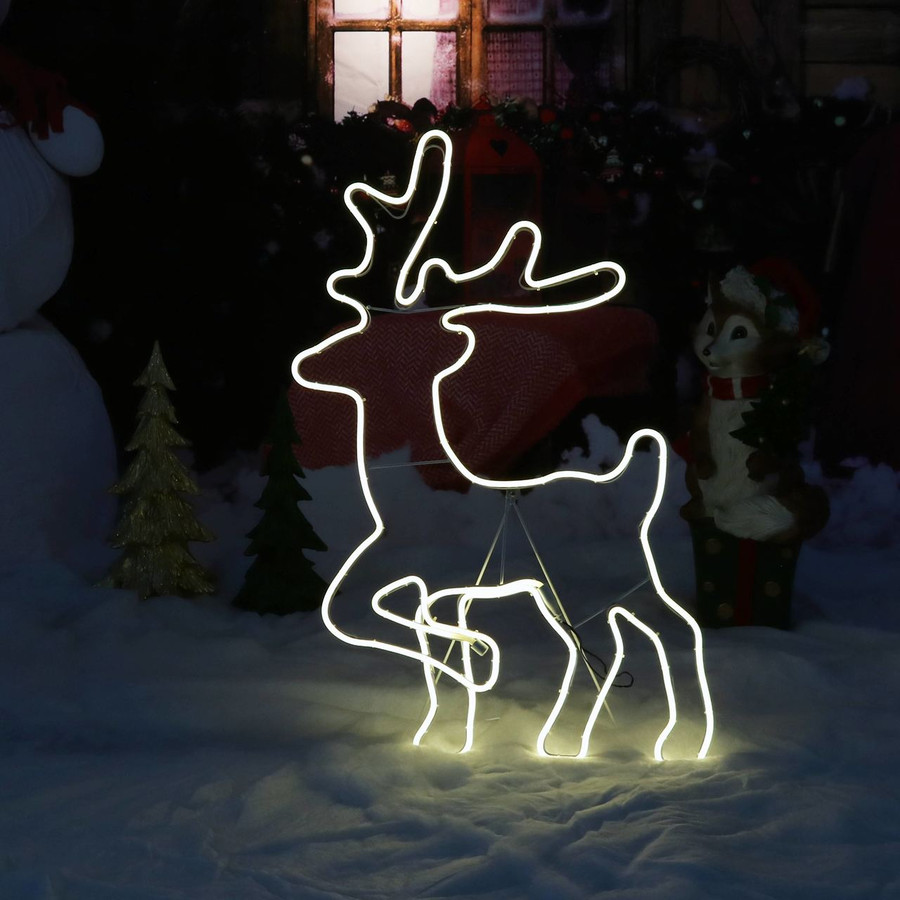 Outdoor LED Lighted Christmas Deer Silhouette at Night