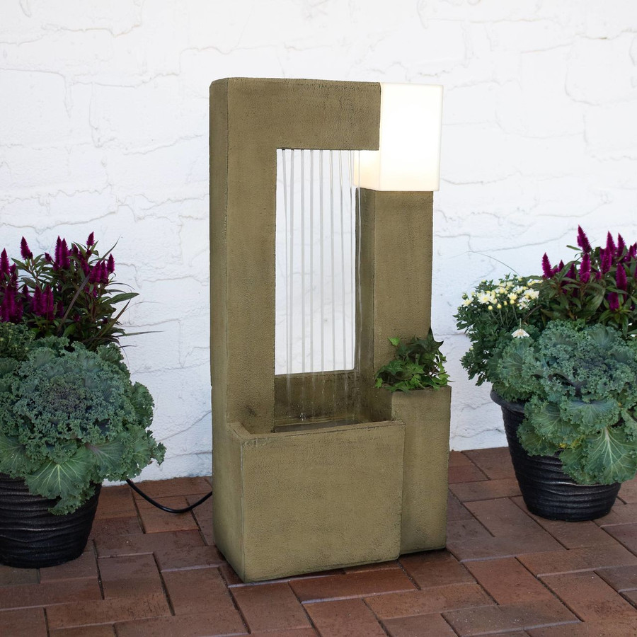 Sunnydaze Garden Shower Outdoor Fountain with Light and Planter, 31-Inch
