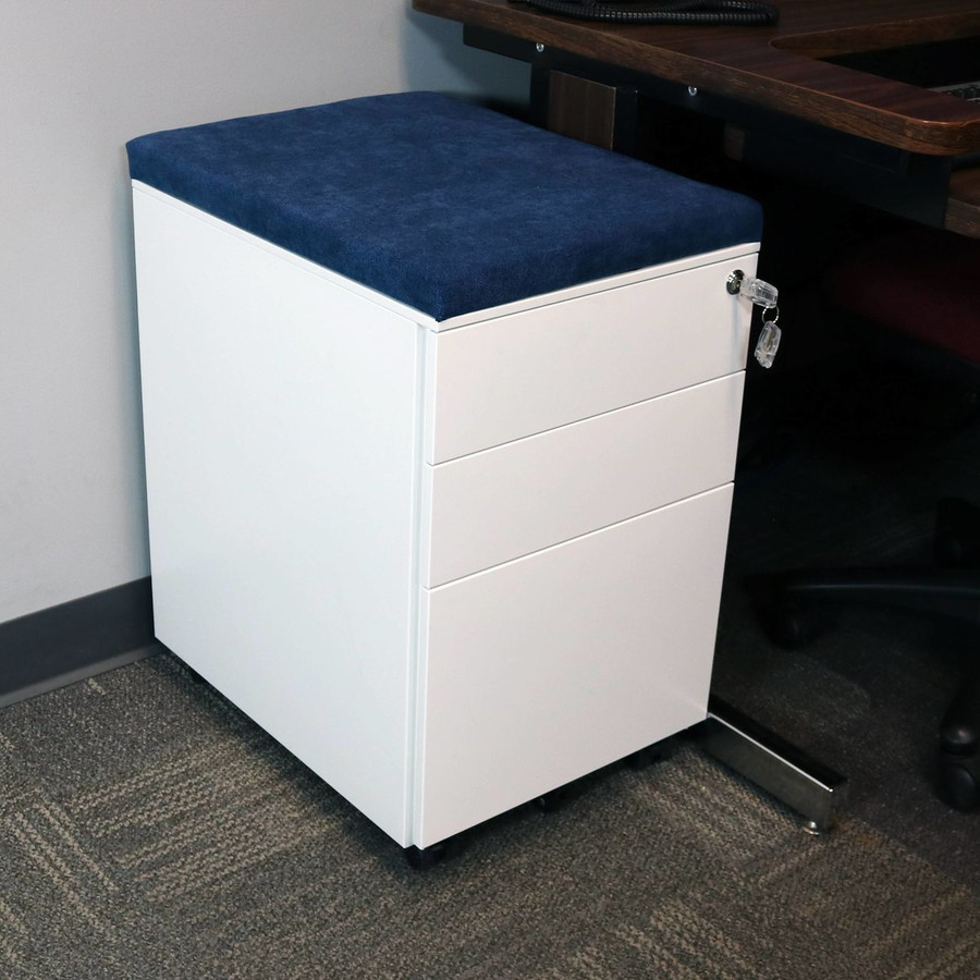 CASL Brands Rolling Mobile File Cabinet with Lock and Cushion Seat, Steel 3-Drawer Storage System