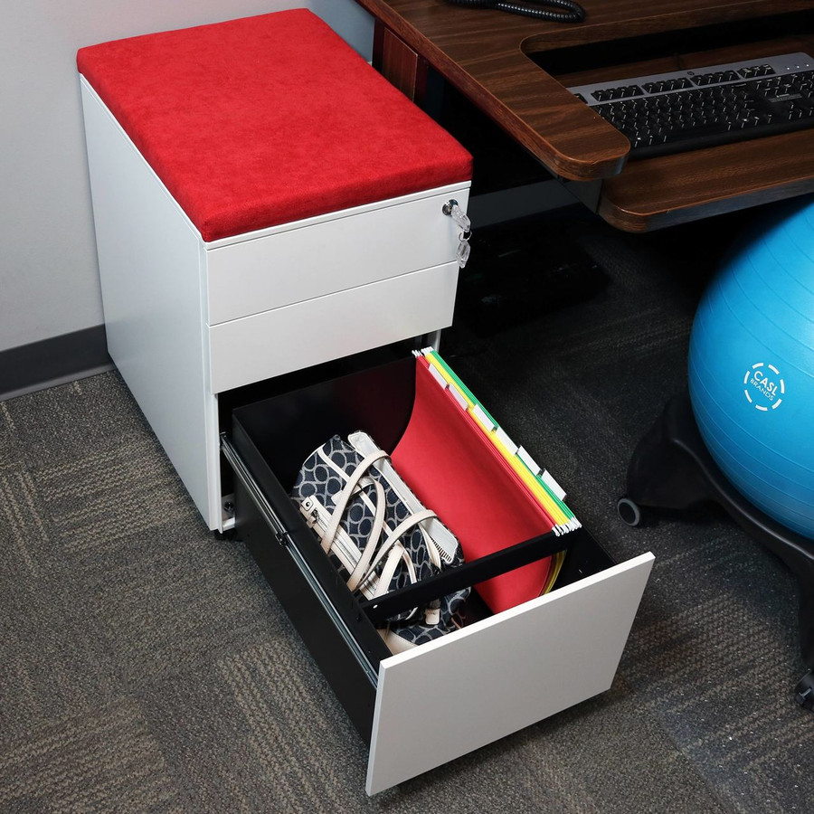 White with Red Cushion Bottom Drawer Open with Legal Hanging Folders