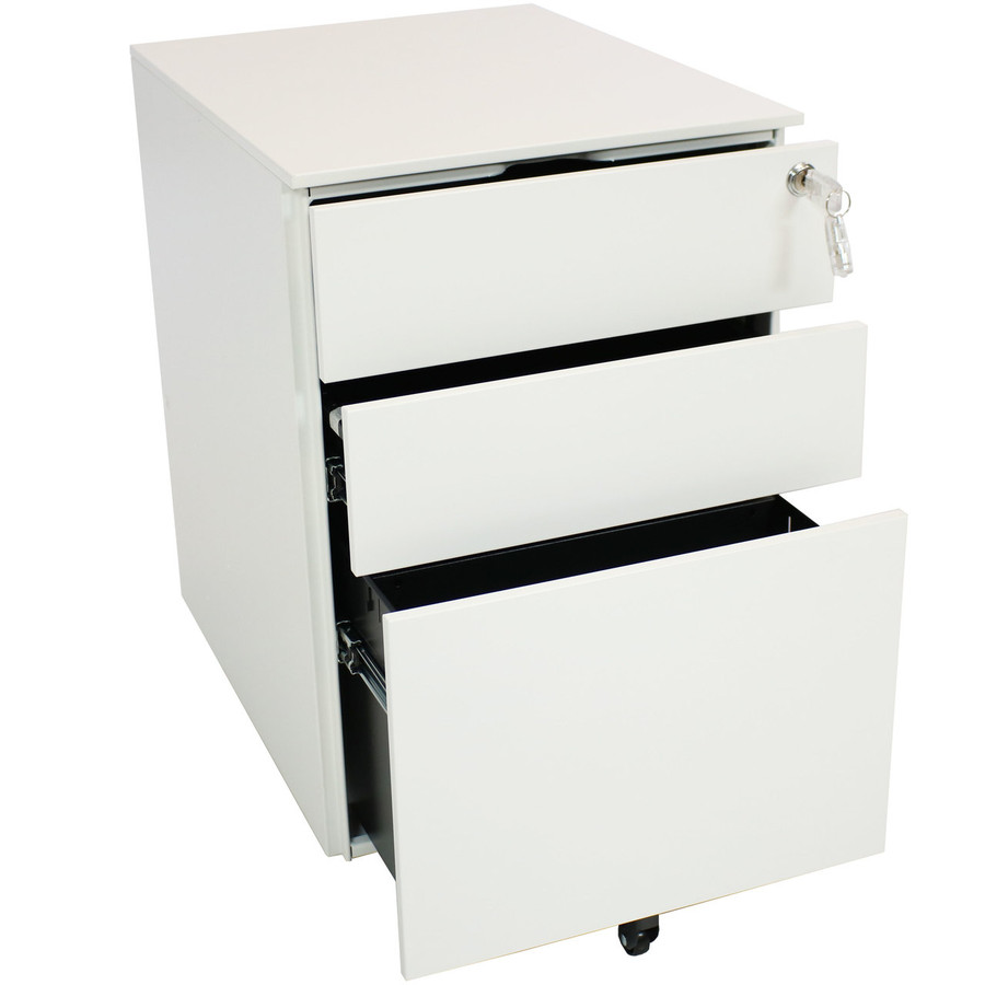 White Rolling Mobile File Cabinet with Keyed Lock
