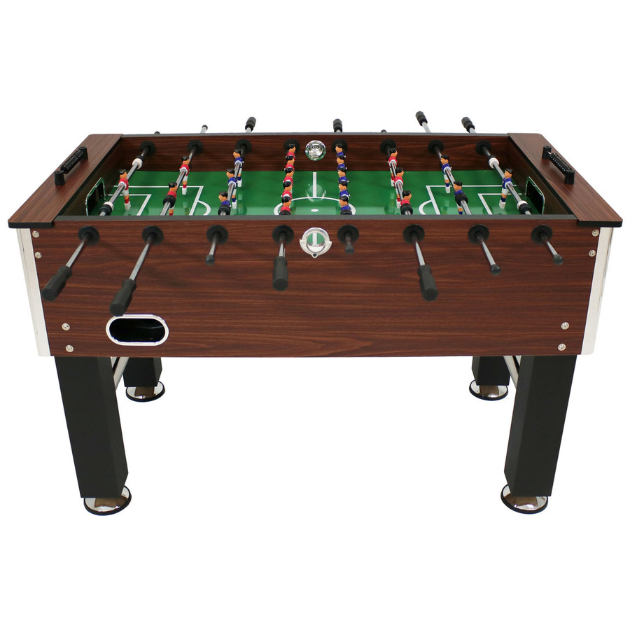Sunnydaze 55-Inch Faux Wood Foosball Table with Folding Drink Holders