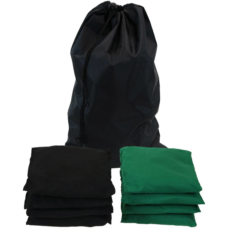 Green and Black Cornhole Bean Bags with Carrying Bag