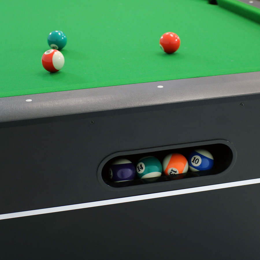 Closeup of Table with Balls and Ball Return