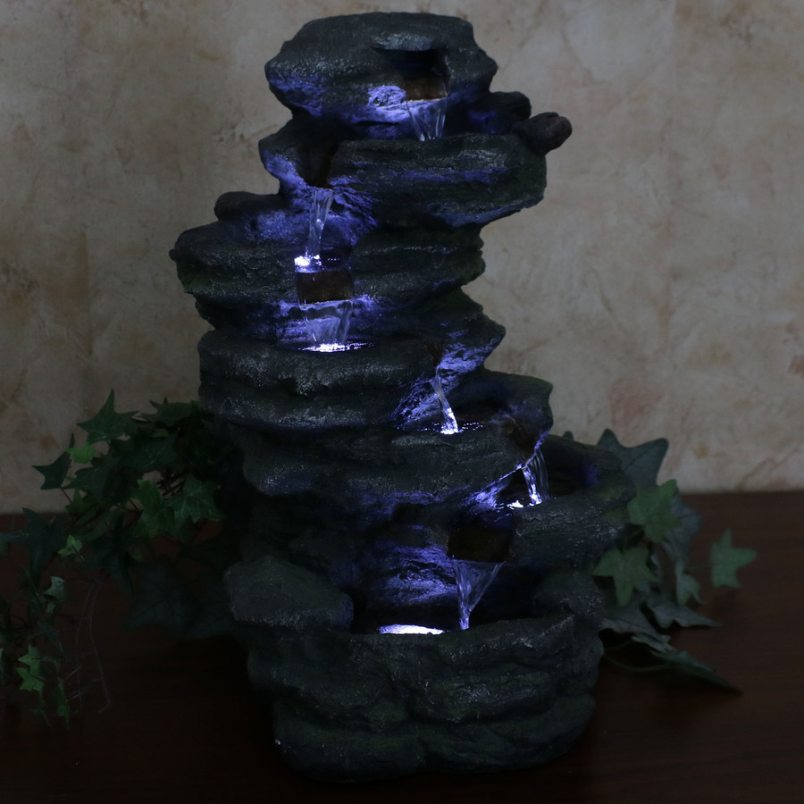 Stacked Rock Waterfall Indoor/Outdoor Tabletop Water Fountain, Nighttime View