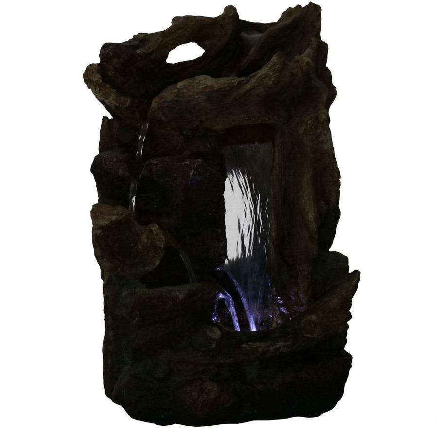 Rocky Driftwood Indoor Water Fountain with LED Light, Nighttime View