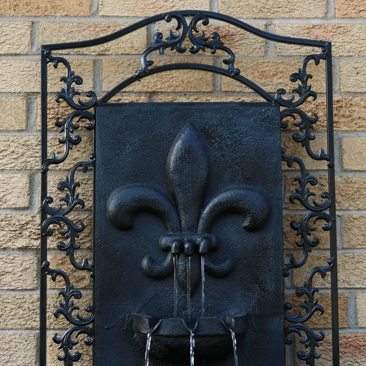 Sunnydaze French Lily Solar Outdoor Wall Fountain, Includes Solar ...