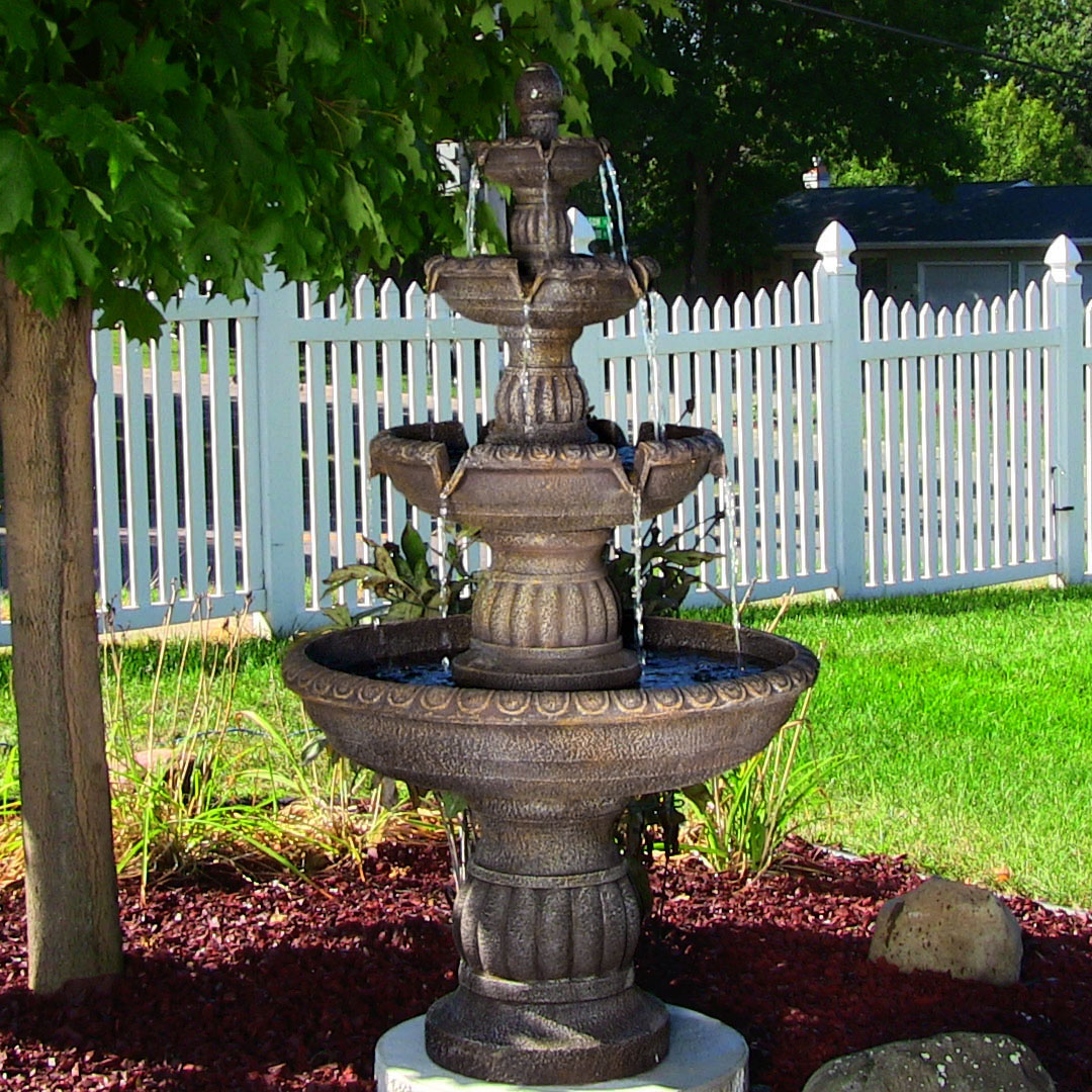 Sunnydaze mediterranean 4 tiered outdoor water fountain with electric submersible pump 49 inch tall