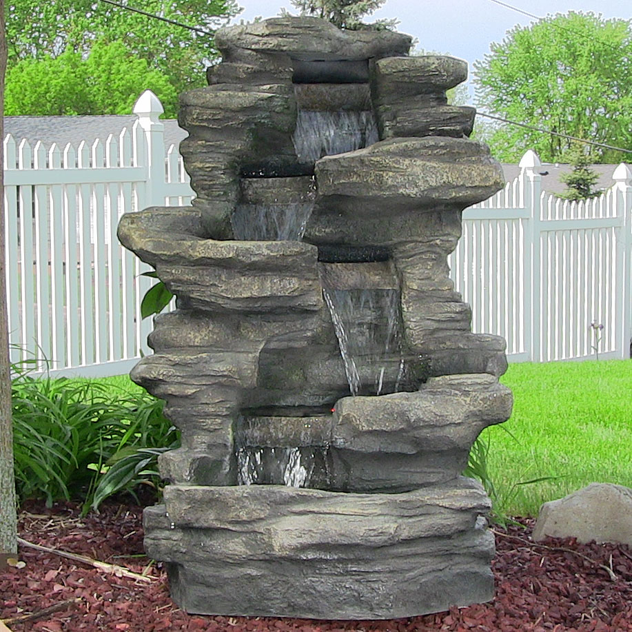 Sunnydaze stacked shale electric outdoor waterfall with led lights 38 inch tall mozeypictures Gallery