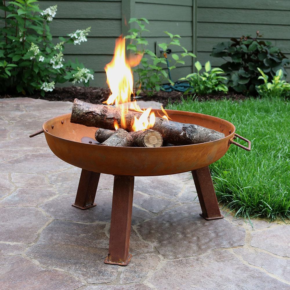 sunnydaze rustic wood burning cast iron fire pit bowl