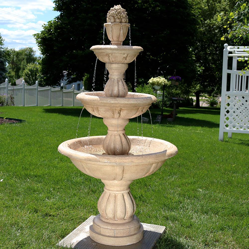 Sunnydaze 3 tier cornucopia outdoor water fountain 61 inch tall