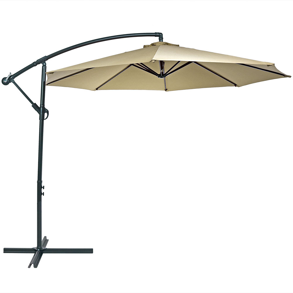 sunnydaze steel 10 foot offset patio umbrella with cantilever crank and cross base 8 steel ribs - Offset Patio Umbrella