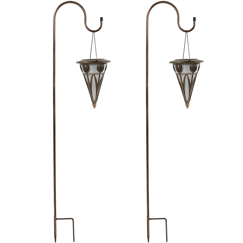 Sunnydaze decorative cone outdoor hanging solar light with shepherd sunnydaze decorative cone outdoor hanging solar light with shepherd hook set of two aloadofball Gallery