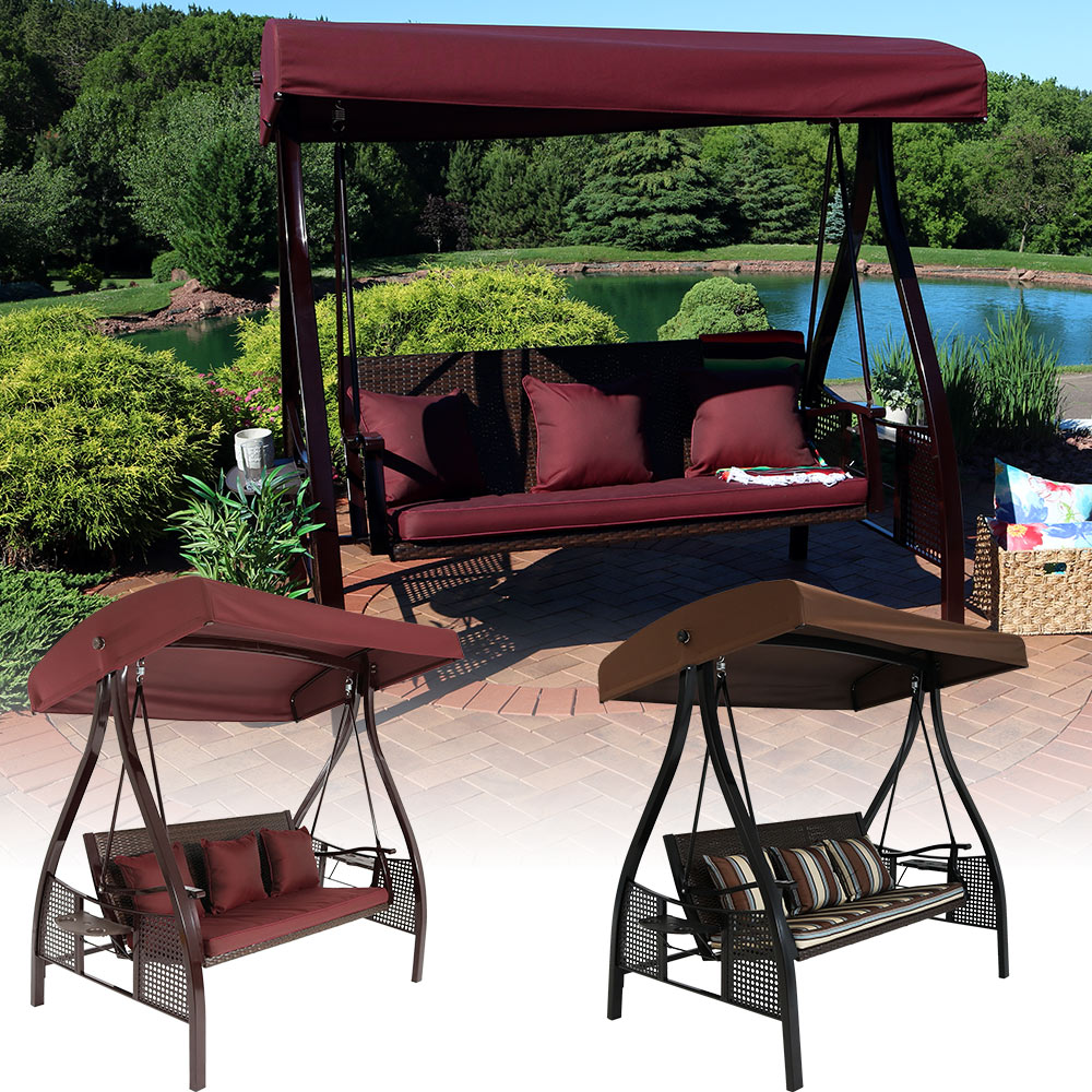Sunnydaze Deluxe Steel Frame Cushioned Garden Swing With Canopy And Side  Tables, 3 Person, For Patio Or Yard