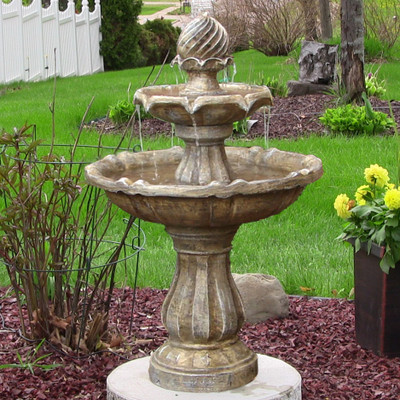 Sunnydaze Two Tier Solar Fountain Earth Finish 35