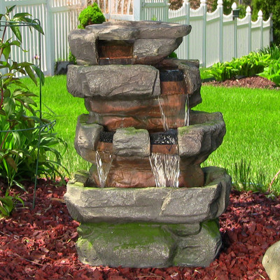 Sunnydaze Outdoor Large Rock Quarry Waterfall Fountain