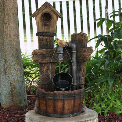Sunnydaze birdhouse leaking pipe fountain with led 29 for Water pipe outside house